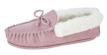 Mokkers  'EMILY' Real Suede Leather Moccasin with Hardwearing Sole  PINK