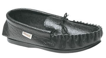 MOKKERS  Leather Moccasins with Hard Wearing PVC Sole BLACK