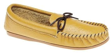 MOKKERS  Leather Moccasins with Hard Wearing PVC Sole TAN