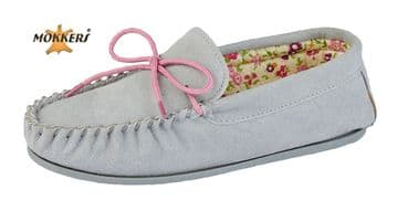 Mokkers  'LILY' Real Suede Leather Moccasin with Hardwearing Sole  GREY