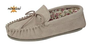 Mokkers  'LILY' Real Suede Leather Moccasin with Hardwearing Sole  STONE
