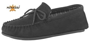 MOKKERS  Real Suede Leather Moccasins with Hard Wearing PVC Sole BLACK