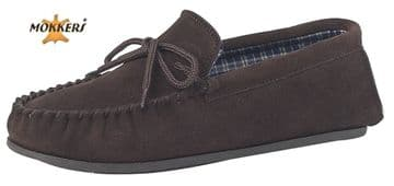 MOKKERS  Real Suede Leather Moccasins with Hard Wearing PVC Sole BROWN