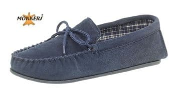 MOKKERS  Real Suede Leather Moccasins with Hard Wearing PVC Sole NAVY