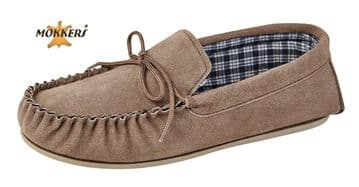 MOKKERS  Real Suede Leather Moccasins with Hard Wearing PVC Sole TAUPE