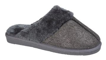 Sleepers Womens JULIET Mule Slippers with Faux Fur Lining and Insole BLACK