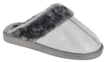 Sleepers Womens JULIET Mule Slippers with Faux Fur Lining and Insole GREY