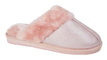 Sleepers Womens JULIET Mule Slippers with Faux Fur Lining and Insole PINK