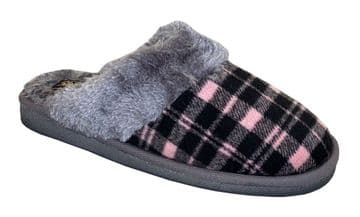 Sleepers Womens 'MIA' Tartan Mule Slippers with Faux Fur Lining and Insole BLACK/PINK
