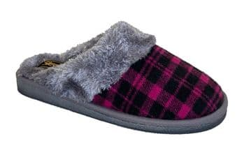 Sleepers Womens 'MIA' Tartan Mule Slippers with Faux Fur Lining and Insole PURPLE/GREY