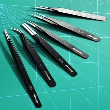 6 Tweezers Black Epoxy Coated Stainless Steel Non Magnetic