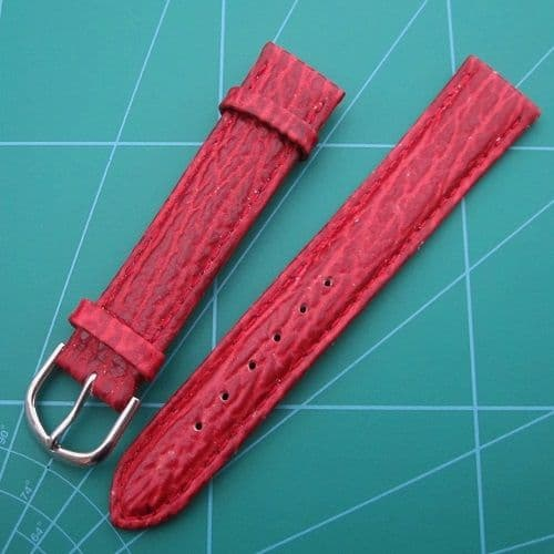 Burgundy Shark Grain Padded Watch Band Gold and Steel Colour Buckles Sizes 20-18mm