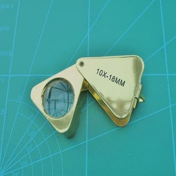 Eye Loupe Triangular 18mm Magnification 10x Gold Finish Cased