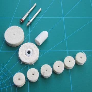 Felt and Cloth Wheels Jewellery Cleaning and Polishing Mini Drill 11pc Set