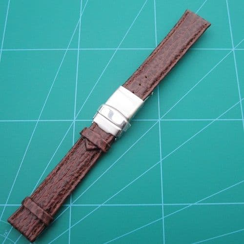 Genuine Leather Shark Grain Watch Strap Stainless Steel Safety Buckle Sizes 22-20-18mm