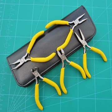 Mini Pliers 5pc Set Leather-look Case